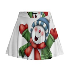 Snowman With Scarf Mini Flare Skirt