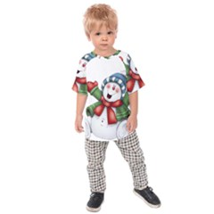 Snowman With Scarf Kids Raglan Tee by Sapixe