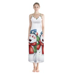 Snowman With Scarf Button Up Chiffon Maxi Dress