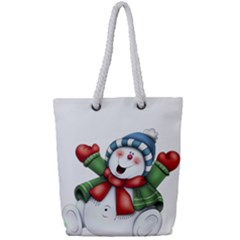 Snowman With Scarf Full Print Rope Handle Tote (small)
