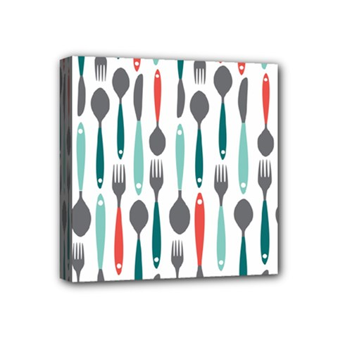 Spoon Fork Knife Pattern Mini Canvas 4  X 4  by Sapixe