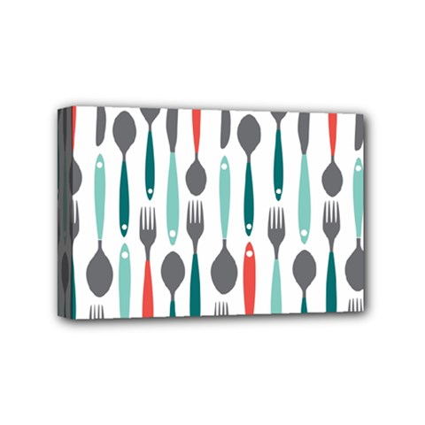 Spoon Fork Knife Pattern Mini Canvas 6  X 4  by Sapixe