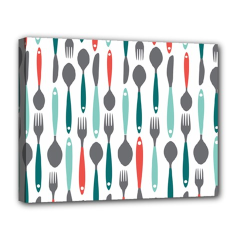 Spoon Fork Knife Pattern Canvas 14  X 11  by Sapixe