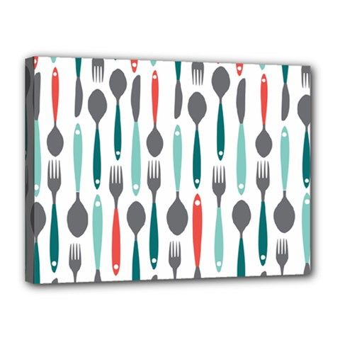 Spoon Fork Knife Pattern Canvas 16  X 12  by Sapixe