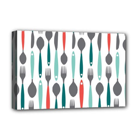 Spoon Fork Knife Pattern Deluxe Canvas 18  X 12   by Sapixe
