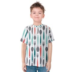 Spoon Fork Knife Pattern Kids  Cotton Tee by Sapixe