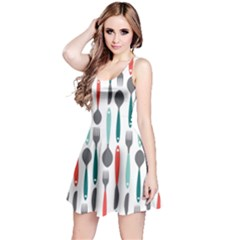 Spoon Fork Knife Pattern Reversible Sleeveless Dress by Sapixe