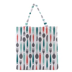 Spoon Fork Knife Pattern Grocery Tote Bag by Sapixe