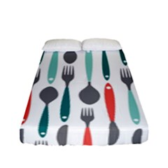 Spoon Fork Knife Pattern Fitted Sheet (full/ Double Size) by Sapixe