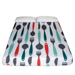 Spoon Fork Knife Pattern Fitted Sheet (california King Size) by Sapixe