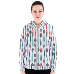 Spoon Fork Knife Pattern Women s Zipper Hoodie by Sapixe