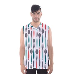 Spoon Fork Knife Pattern Men s Basketball Tank Top by Sapixe