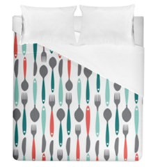 Spoon Fork Knife Pattern Duvet Cover (queen Size) by Sapixe