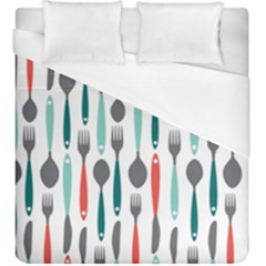 Spoon Fork Knife Pattern Duvet Cover (king Size) by Sapixe