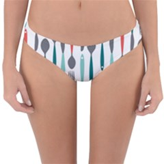 Spoon Fork Knife Pattern Reversible Hipster Bikini Bottoms by Sapixe