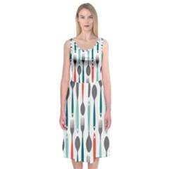 Spoon Fork Knife Pattern Midi Sleeveless Dress by Sapixe