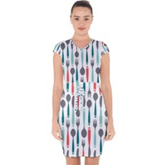 Spoon Fork Knife Pattern Capsleeve Drawstring Dress  by Sapixe