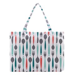 Spoon Fork Knife Pattern Medium Tote Bag by Sapixe
