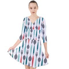 Spoon Fork Knife Pattern Quarter Sleeve Front Wrap Dress by Sapixe