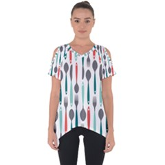 Spoon Fork Knife Pattern Cut Out Side Drop Tee by Sapixe