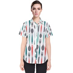Spoon Fork Knife Pattern Women s Short Sleeve Shirt by Sapixe