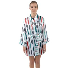 Spoon Fork Knife Pattern Long Sleeve Kimono Robe by Sapixe