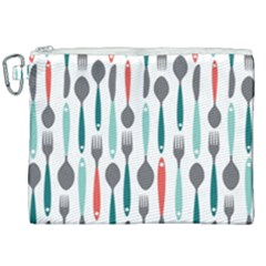 Spoon Fork Knife Pattern Canvas Cosmetic Bag (xxl) by Sapixe