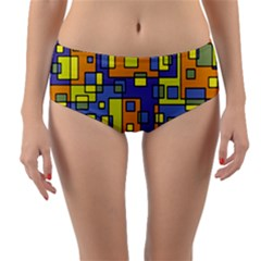 Square Background Background Texture Reversible Mid Waist Bikini Bottoms by Sapixe