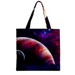 Space Art Nebula Zipper Grocery Tote Bag by Sapixe