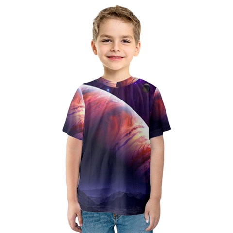 Space Art Nebula Kids  Sport Mesh Tee by Sapixe