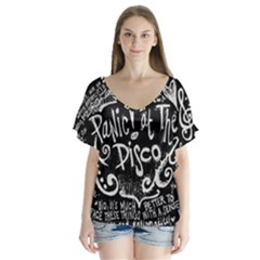 Panic! At The Disco Lyric Quotes V Neck Flutter Sleeve Top by Samandel