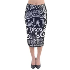 Panic! At The Disco Lyric Quotes Velvet Midi Pencil Skirt by Samandel