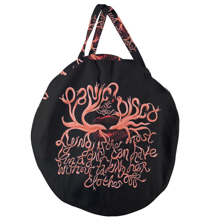 Panic At The Disco   Lying Is The Most Fun A Girl Have Without Taking Her Clothes Giant Round Zipper Tote