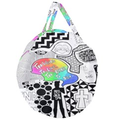 Panic ! At The Disco Giant Round Zipper Tote by Samandel