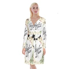 Panic At The Disco Beautifull Floral Long Sleeve Velvet Front Wrap Dress