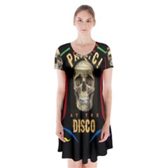 Panic At The Disco Poster Short Sleeve V Neck Flare Dress by Samandel
