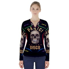 Panic At The Disco Poster V Neck Long Sleeve Top by Samandel