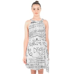 Panic! At The Disco Lyrics Halter Collar Waist Tie Chiffon Dress