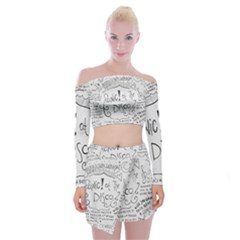 Panic! At The Disco Lyrics Off Shoulder Top With Mini Skirt Set by Samandel