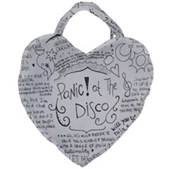 Panic! At The Disco Lyrics Giant Heart Shaped Tote by Samandel