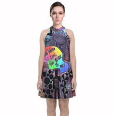 Panic! At The Disco Galaxy Nebula Velvet Halter Neckline Dress