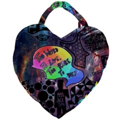 Panic! At The Disco Galaxy Nebula Giant Heart Shaped Tote by Samandel