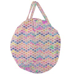 Zigzag Flower Of Life Pattern2 Giant Round Zipper Tote by Cveti