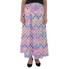Zigzag Flower Of Life Pattern2 Flared Maxi Skirt
