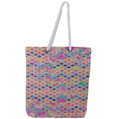 Zigzag Flower Of Life Pattern2 Full Print Rope Handle Tote (large) by Cveti