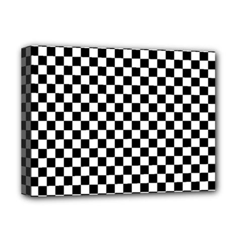 Checker Black And White Deluxe Canvas 16  X 12   by jumpercat
