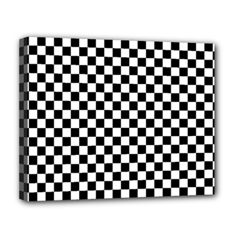 Checker Black And White Deluxe Canvas 20  X 16   by jumpercat