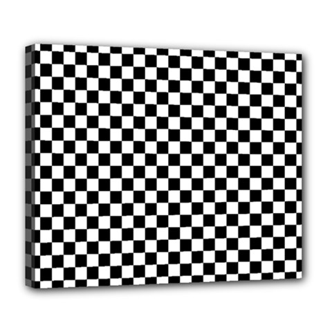 Checker Black And White Deluxe Canvas 24  X 20   by jumpercat