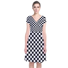 Checker Black And White Short Sleeve Front Wrap Dress