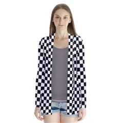 Checker Black And White Drape Collar Cardigan by jumpercat